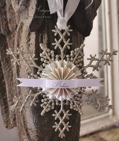 Vintage Christmas Snowflake Ornament Glitter BELIEVE Gift Tag Banner French Shabby Chic Decor Paper Rosette Tag