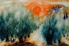 Reuven Rubin 1893-1974 (Israeli) Sunset and Olive - by Matsart Auctioneers & Appraisers