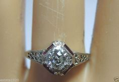Antique European Diamond Engagement Ring 18K White Gold Ring Size 6 Vintage Fine #SolitairewithAccents