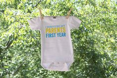 I survived my parents first year // Boys 1st birthday shirt // humorous 1st birthday shirt  ---------------------♥-ABOUT THIS
