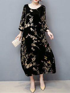 73ab4415eecb Black Maxi Dress Shift Daytime Casual Floral Dress Long Sleeve Cotton Dress