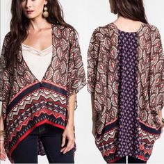 The TULY print v neck top - BROWN mix I welcome warm prints! ️ ‼️️NO TRADE, PRICE FIRM‼️ Tops