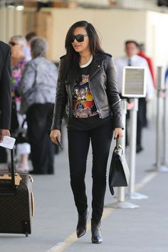 Naya Rivera in a cute rocker-chic outfit
