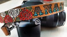 Custom Leather Camera Strap - Roses - Personalized Floral Leather - Handmade & Handpainted - Romantic Gift