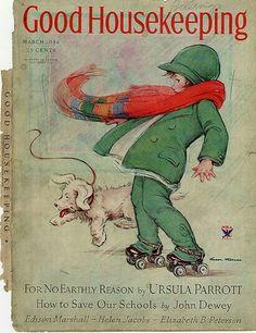 "Vintage Good Housekeeping Magazine ""How to Save Our Schools"" -John Dewey Old Magazines, Vintage Magazines, Vintage Books, Vintage Dog, Vintage Ephemera, Vintage Cards, Vintage Postcards, Vintage Paper, Vintage Artwork"