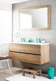 Einem schwimmenden Holzschrank mit zwei Schubladen und einem Waschbecken