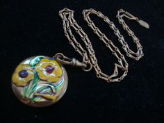 Vintage Pididdly Links Kingston NY Enamel Flower Pendant on Long Chain Necklace. $30.00, via Etsy.