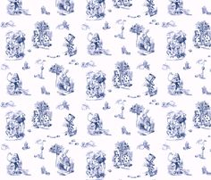 """AliceToile-BLUE background fabric by avelis on Spoonflower - custom fabric  Linen-cotton Canvas 2yds @ $54.00  48"""""""