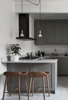 51 Dream Modern Home Kitchen Ideas Sophisticated kitchen design for small kitchen decor inspirations. Modern kitchen organization would be the heaven of housewife or housemen, You will find some modern kitchen decor ideas via this gallery. - Add Modern To Grey Kitchens, Cool Kitchens, Small Kitchens, Modern Kitchens, Luxury Kitchens, Modern Kitchen Design, Interior Design Kitchen, Modern Bar, Modern Shaker Kitchen