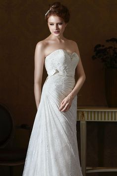 Style * GL058 * » Wedding Dresses » Gold Label 2014 Fall Collection » by Eden Bridals » Available Colours : White, Ivory ~ Shown Sweetheart Bodice lined with Beaded embellishment at Neckline & Beaded Ribbon at waist (close up side)