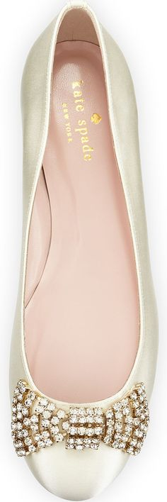 kate spade new york ballie crystal bow satin flat, ivory
