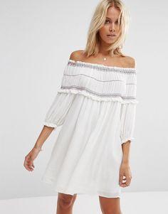 ASOS Off Shoulder Sundress With Colored Shirring