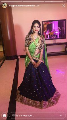 Kids Blouse Designs, Bridal Blouse Designs, Saree Wearing Styles, Saree Styles, Half Saree Lehenga, Saree Jewellery, Half Saree Designs, Indian Outfits, Indian Gowns