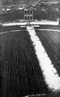 Aerial view of Nuremburg - The Luitpold Arena could hold over 150,000 Nazis, and was the scene of SS and SA gatherings. At one end was the Ehrenhalle, a war memorial built in 1929.
