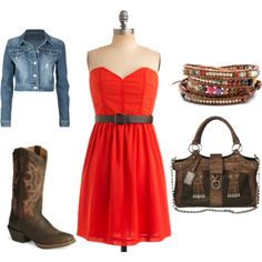 red sun dress and cropped jean jacket, lose the rest pictured … for more style secrets follow http://pinterest.com/shop4fashion/hottest-of-the-honey-pot/ http://pinterest.com/shop4fashion/hottest-of-the-honey-pot/