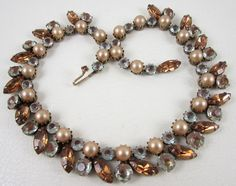 """The necklace measures 16"""" long x 3/4"""" wide and has an antiqued gold tone setting with 8mm pearls and brown marquis rhinestones. What makes this necklace special is the combination of 6mm and 9mm SAPHIRET art glass rhinestones.   eBay!"""