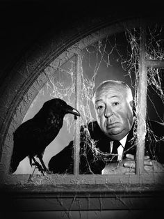 Photo: Alfred Hitchcock, photo pour la sortie du fim Les Oiseaux, 1963 (b/w photo) : 32x24in