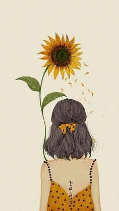 Trendy Ideas For Hair Art Illustration Artworks Art And Illustration, Illustrations, Sunflower Illustration, Anime Kunst, Anime Art, Art Sketches, Art Drawings, Pencil Drawings, Sunflower Drawing