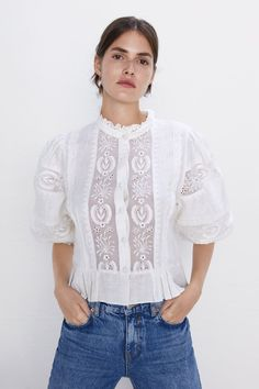 Zara spring summer collection ready to dresses for women zara singapore strap lace las arels blouses pleated blouse zara united states amanda holden wows her insram fansWomen S Blouses Zara … Boho Outfits, Vintage Outfits, High Collar Blouse, Gamine Style, Zara Shirt, Embroidered Blouse, Zara Dresses, Zara Women, Lace Tops