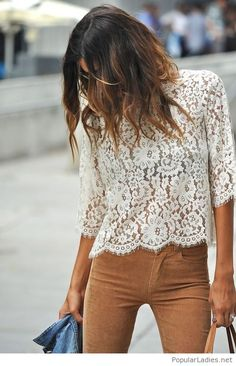 Brown velvet pants and a white lace top