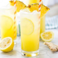 Pineapple pairs with spicy ginger and tart lemonade in sweet harmony to create a delicious drink worthy of summer!