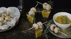 La ricette delle polpette di tacchino con crema di carote e zucca da servire come aperitivo