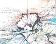 moleskine sketchbook, copyright 2011 Berta C. Roebuck. Hidden Messages', sketchbook version Year:2011 Medium:Graphite, color pencil. Format:5″ x 8″ moleskine journal, 2 page spread