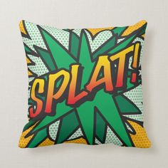 Shop ZAP POW Fun Retro Comic Book Pop Art Throw Pillow created by ComicBookPop. Throw Cushions, Decorative Throw Pillows, Comic Book Superheroes, Comic Books, Zap Comics, Pop Art Party, Book Pillow, Retro Gifts, Pillow Fight