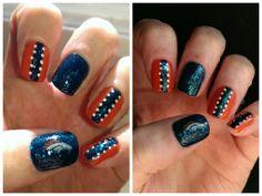 Denver Broncos Nail Art Denver Broncos Nails, Football Nails, Cool Nail Art, Fun Nails, Hair And Nails, Hair Makeup, Make Up, Beauty, Makeup