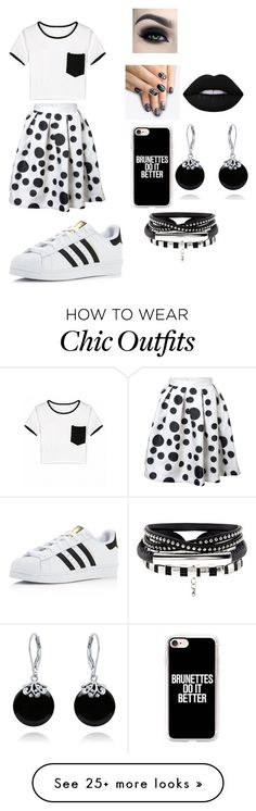 """""""Black and white"""" by vshoemaker on Polyvore featuring adidas, alfa.K, Too Faced Cosmetics, Casetify, Bling Jewelry and Lime Crime"""