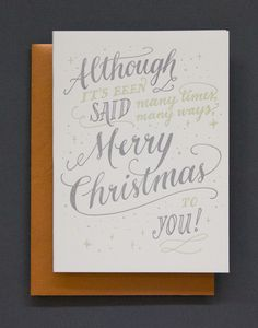 This timeless Christmas card is hand lettered and letterpress printed with silver and mint ink and comes with a metallic copper envelope. Designed and printed by Ladyfingers Letterpress