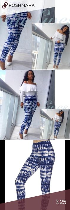 """Soft Brushed Leggings Blue Tie Dye White S M L XL One size Leggings Blue Tie Dye White   Women's:  One Size S-XL Waist 11.5""""  Hips 18"""" Length 37"""" Inseam 26.5"""" These leggings should fit a Waist 22""""-32"""" and Hips 36""""-44"""".  I'm wearing the This size in the photos. My waist is 30"""" and my hips are 42"""" I weigh 155 lbs at 5'6"""".  These are soft brushed leggings but NOT LulaRoe Callie Lives Pants Leggings"""