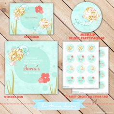 Deluxe MERMAID Collection...Custom Printable Party Package...Personalized...by KM Thomas Designs - BD109