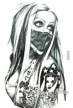2016 NEW Simple Cool Tattoo Girl with Mask 21x15cm Waterproof Temporary Tattoo #CoolTemporaryTattoos
