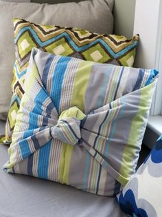 DIY Network has instructions on how to make easy and inexpensive, no-sew pillows in just minutes.