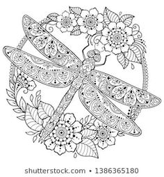 Circular pattern in form of mandala with dragonfly and flower for Henna, Mehndi, tattoo, decoration. Decorative ornament in ethnic oriental style. Frame in the eastern tradition. Coloring book page. Dragonfly Art, Dragonfly Tattoo, Phulkari Embroidery, Henna Drawings, Circular Pattern, Stained Glass Designs, Doodle Patterns, Black N White Images, Coloring Book Pages