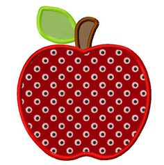 Apple applique machine embroidery design instant by WendysStitch, $1.49