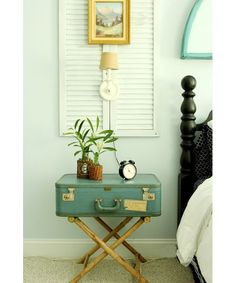 Vintage Suitcase used as a Bedroom Nightstand