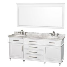 Photo Gallery Website Wyndham Collection Berkeley inch Double Bathroom Vanity in White with White Carrera Marble Top with White Undermount Oval Sinks and inch Mirror