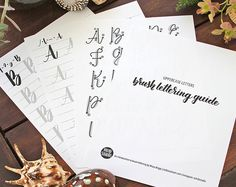 Brush lettering worksheets for lefties | Calligraphy and art by m2bstudio on Etsy