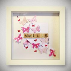 Baby Frame, Baby Box Frame Ideas, Box Frame Ideas Diy Crafts, Craft Frames, 3d Frames, Frames Ideas, Scrabble Tile Crafts, Scrabble Letters, Scrabble Cards