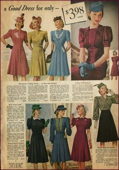 1940s Fashion Advice for Short Women. Early 40's dresses in plain color and matching trim are all ideal for petite women.   http://www.vintagedancer.com/1940s/1940s-petite-short-women/  #1940s fashion