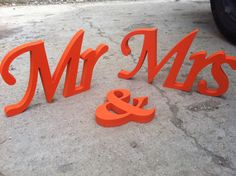 Hey, I found this really awesome Etsy listing at https://www.etsy.com/listing/190325120/orange-mr-mrs-letters-wedding-table