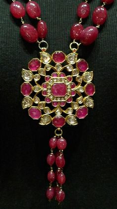 Estate Indian 22K Yellow Gold,Ruby, and Diamond Necklace