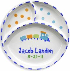 Train Personalized Ceramic Divided Plate