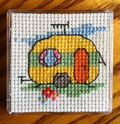 Mini caravan cross stitch (kit from Mouseloft, in a fridge magnet)