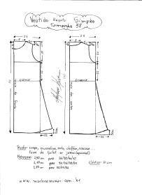 Esquema de modelagem de Vestido Regata Simples tamanho 38.