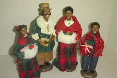 4 Black/African American Victorian Christmas Carolers in box - Santa Claus Christmas Village Display, Christmas Decorations, Black Santa, Black African American, Victorian Christmas, Christmas Carol, Sculpting, Box, Collection