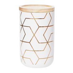 Tall Canister with Spiral Hexagon Pattern