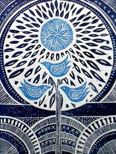 Three Birds Lino Print by mangleprints on Etsy